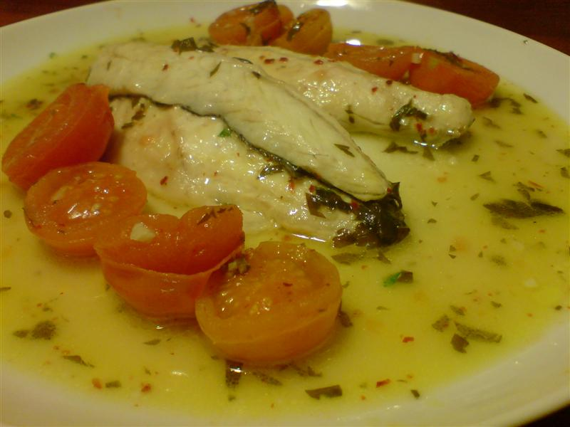 Bass in acqua pazza finished dish
