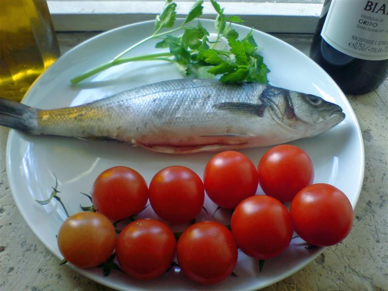 Bass in acqua pazza ingredients