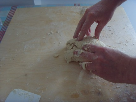 Grissini kneading the dough