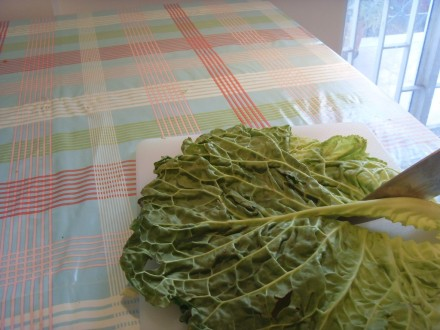 stuffed cabbage removing stalk