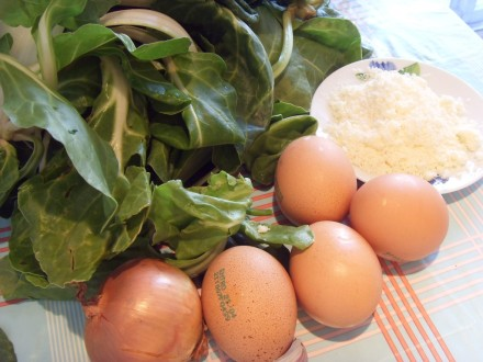 Swiss chard frittata ingredients